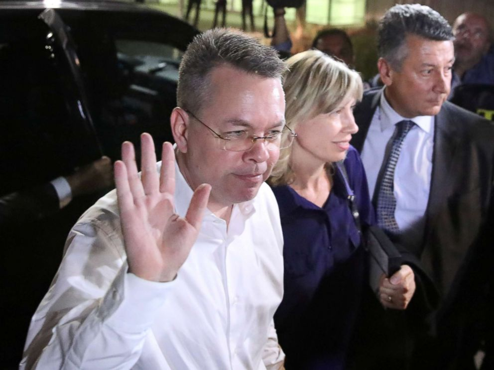 PHOTO: Pastor Andrew Brunson and his wife Norrine arrive at the airport in Izmir, Turkey Oct. 12, 2018.