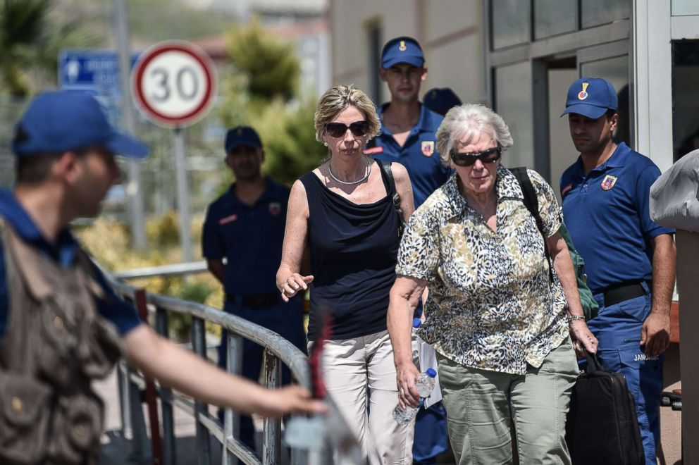 PHOTO: Norine Brunson, wife of US pastor Andrew Brunson who is detained in Turkey for over a year on terror charges, leaves after the trial of her husband, in Aliaga, north of Izmir, on July 18, 2018.