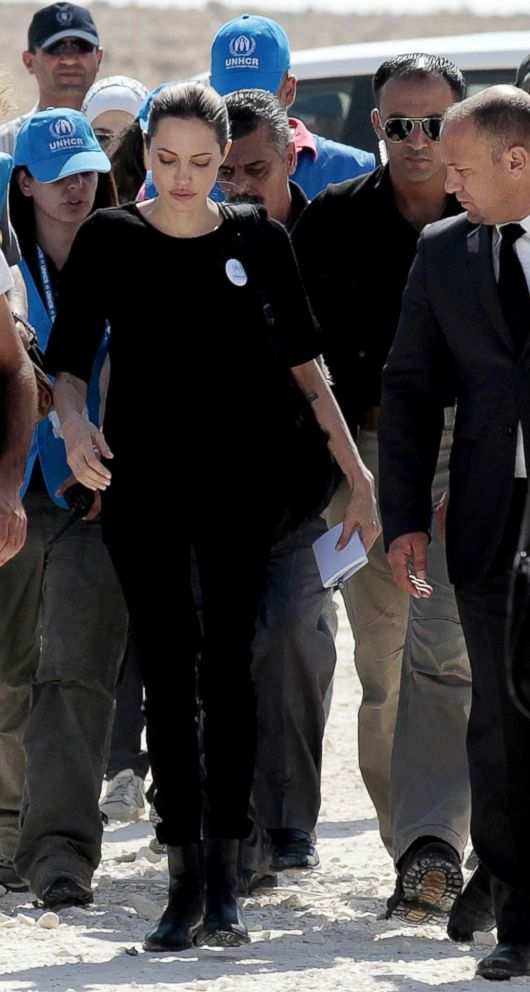 PHOTO: Angelina Jolie and UN High Commission for Refugees staff visit the Zaatari refugee camp near the Jordanian border with Syria, Sept. 11, 2012.