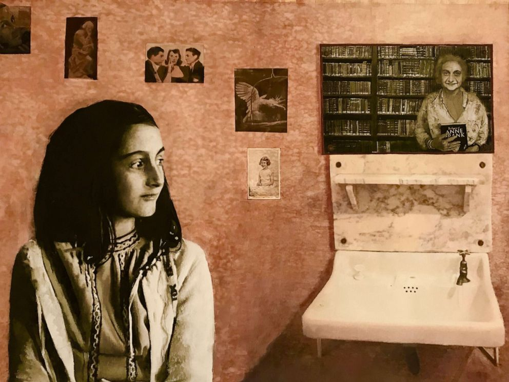 PHOTO: Reflection by the Scottish artist Fiona Graham-Mackay shows a young Anne Frank looking up towards an imagined older version of herself.