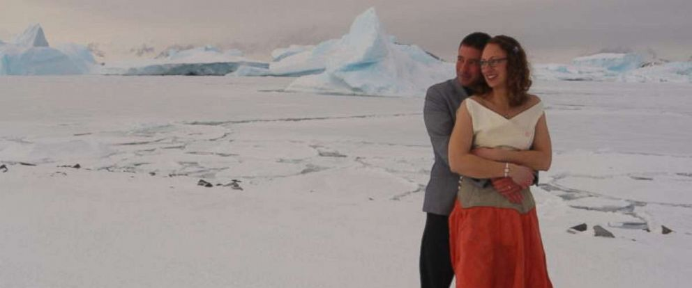 PHOTO: Polar field guides Tom Sylvester and Julie Baum were married at the British Antarctic Survey's (BAS) Rothera Research Station, July 15, 2017.