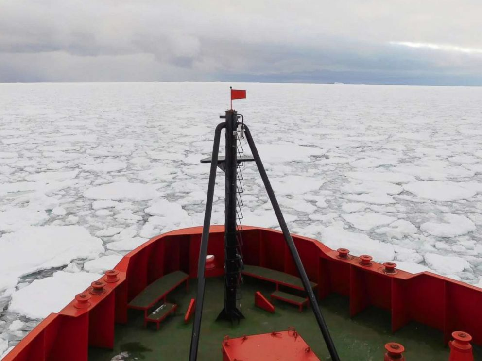 PHOTO: The Laurence M. Gould research vessel, seen in a file image, was unable to reach a team of U.S. researchers stuck on an ice-bound island off Antarcticas coast, the National Science Foundation said, March 10, 2018.
