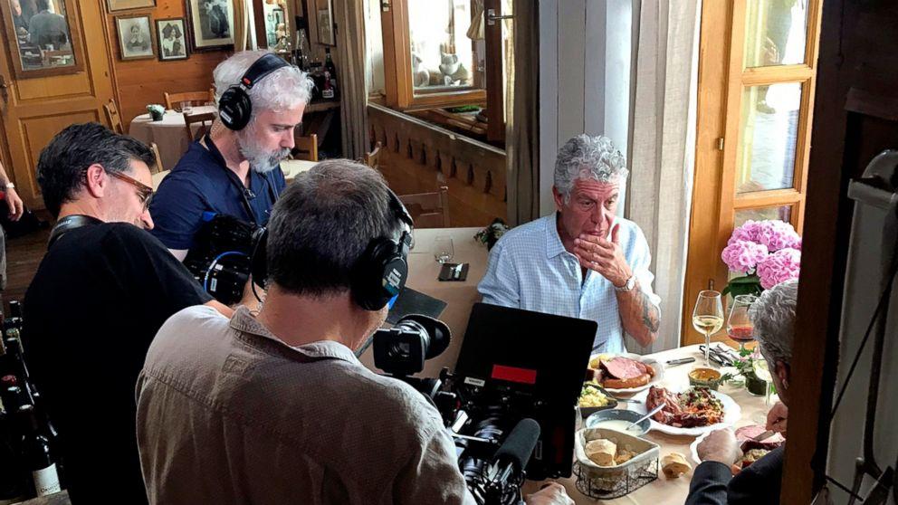 Anthony Bourdain is seen with a film crew at Wistub de la Petite Venise, a restaurant in Colmar, France, June 4, 2018.