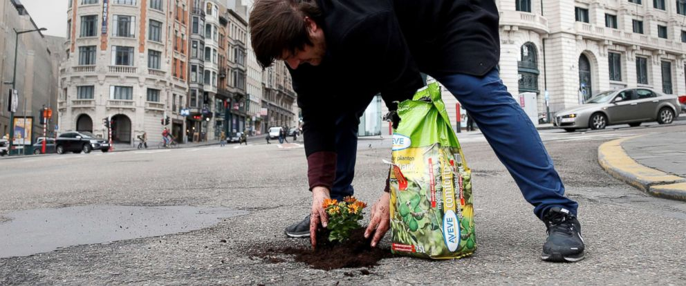 PHOTO: Brussels resident Anton Schuurmans plants flowers in an unrepaired pothole to draw attention to the state of public roads in Brussels, Belgium, April 5, 2018.