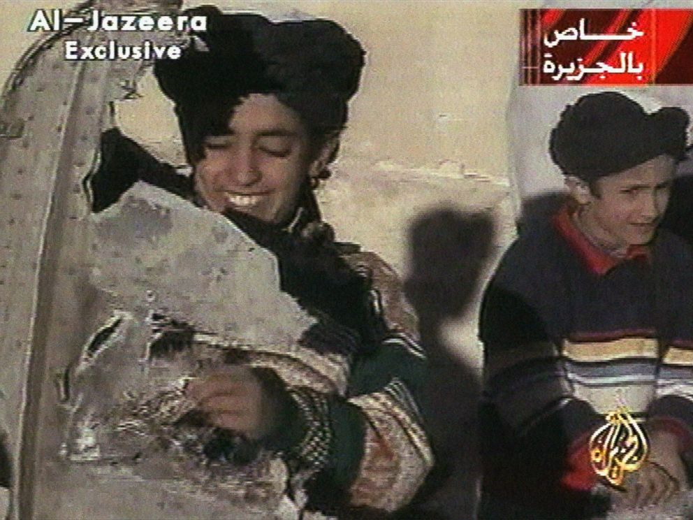 PHOTO: In this image made from video broadcast by the Qatari-based satellite television station Al-Jazeera, Nov. 7, 2001, a young boy, left, identified as Hamza bin Laden.