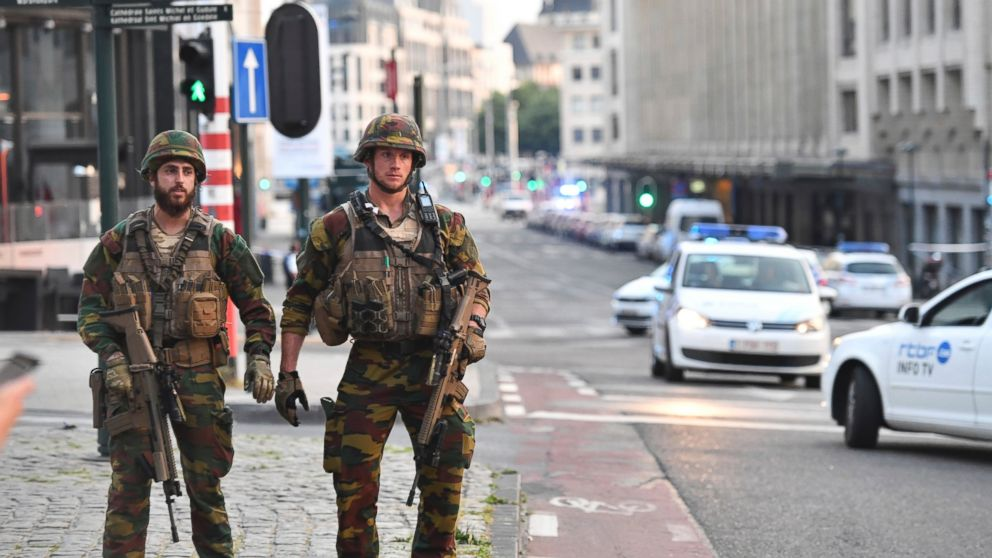 Belgian Army soldiers patrol outside Central Station after a reported explosion in Brussels on Tuesday, June 20, 2017.