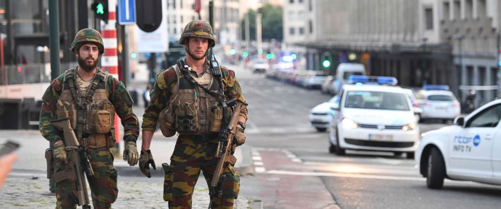 PHOTO: Belgian Army soldiers patrol outside Central Station after a reported explosion in Brussels on Tuesday, June 20, 2017.