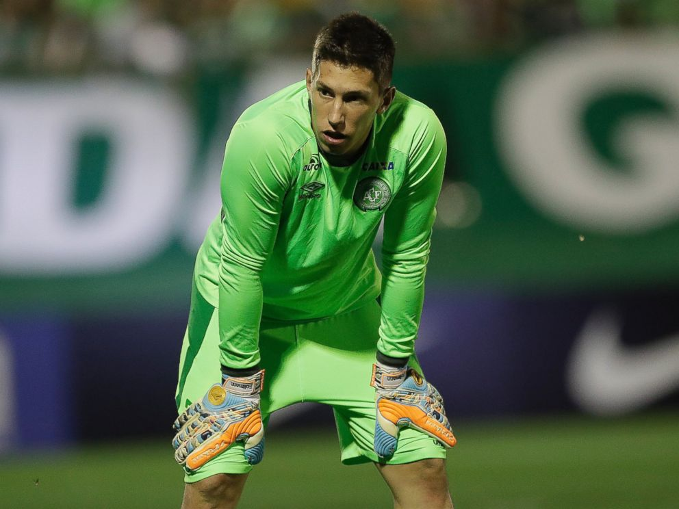 PHOTO: In this Nov. 23, 2016 photo, Brazils Chapecoense goalkeeper Jackson Ragnar Follmann, warms up prior to a Copa Sudamericana semifinal soccer match against Argentinas San Lorenzo in Chapeco, Brazil.