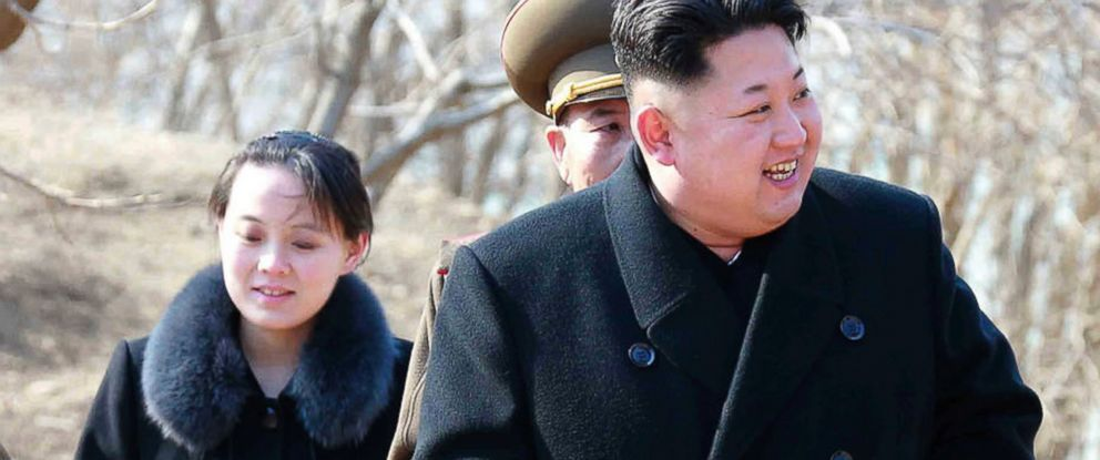 This 2015 file photo provided by the North Korean government shows North Korean leader Kim Jong Un and his sister Kim Yo Jong, left, during their visit to a military unit in North Korea.