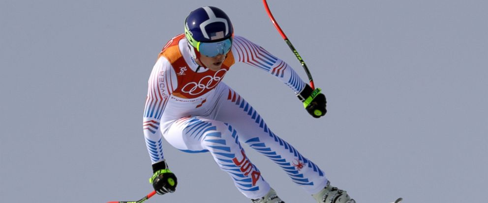 United States Lindsey Vonn jumps while competing in the womens downhill at the 2018 Winter Olympics in Jeongseon, South Korea, Wednesday, Feb. 21, 2018.