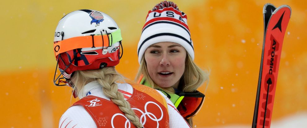 Mikaela Shiffrin, of the United States, right, hugs compatriot Lindsey Vonn after the womens combined slalom at the 2018 Winter Olympics in Jeongseon, South Korea, Thursday, Feb. 22, 2018.