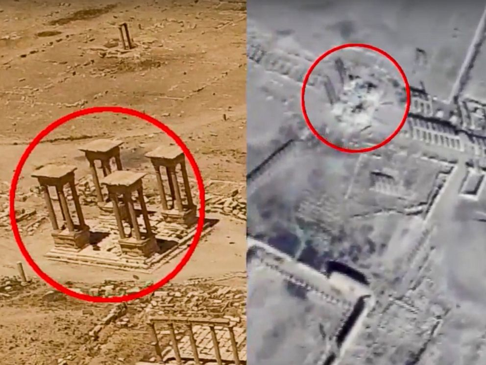 PHOTO: Footage taken from the Russian Defense Ministry official website, purports to show the Tetrapylon, a set of four monuments with four columns on June 6, 2016, left, and on Feb. 5, 2017, right, in Palmyra, Syria.