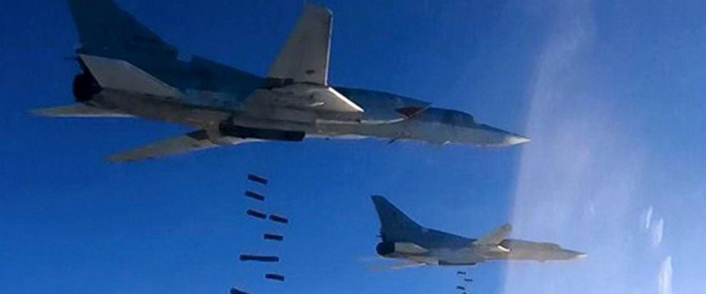 PHOTO: In this photo provided by the Russian Defense Ministry Press Service shows Russian air force Tu-22M3 bombers striking targets in Deir el-Zour in Eastern Syria, Jan. 23, 2017.