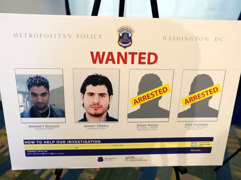 PHOTO: A wanted poster is displayed at a news conference in Washington, D.C., June 15, 2017, during an announcement about arrest warrants in the May 16, 2017, altercation outside the Turkish Embassy.