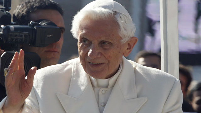 PHOTO: Pope Benedict XVI greets pilgrims in St. Peters Square at the Vatican, Wednesday, Feb. 27, 2013. Pope Benedict XVI greeted the Catholic masses in St. Peters Square Wednesday for the last time before retiring.