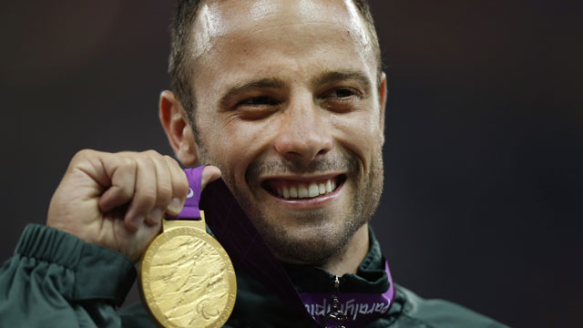PHOTO:In this Sept. 8, 2012, file photo, Gold medalist South Africas Oscar Pistorius poses with his medal during after winning the mens 400 meters T44 category final at the 2012 Paralympics, in London.