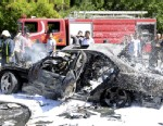 PHOTO: This photo released by the Syrian official news agency SANA, shows Syrian fire fighters extinguishing burning cars after a car bomb exploded in the capitals western neighborhood of Mazzeh, in Damascus, Syria, Monday, April. 29, 2013.