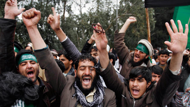 PHOTO: Demonstrators chant anti U.S. slogans following Sundays killing of civilians in Panjwai, Kandahar by a U.S. soldier during a protest in Jalalabad east of Kabul, Afghanistan on March 13, 2012.