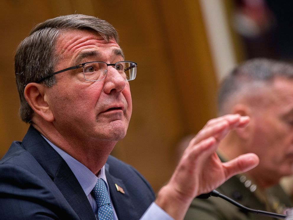 PHOTO: Defense Secretary Ash Carter testifies on Capitol Hill in Washington, Dec. 1, 2015, before the House Armed Services Committee hearing on the U.S. Strategy for Syria and Iraq.