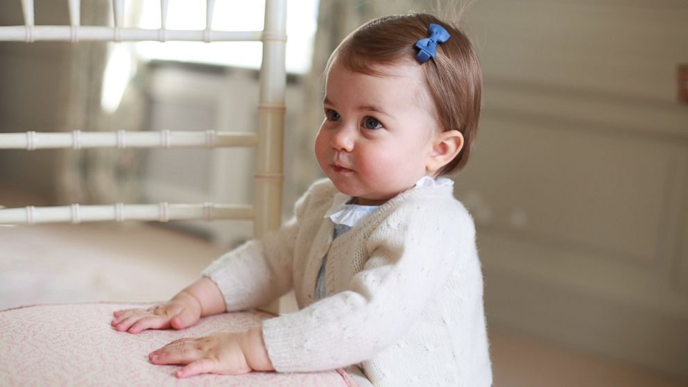 Princess Charlotte poses for a photograph, at Anmer Hall, in Norfolk, England. The princess will celebrate her first birthday on Monday.