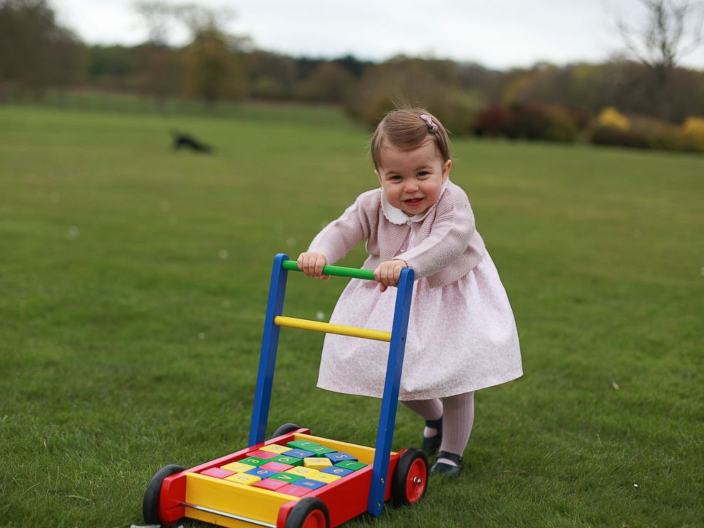 PHOTO: Princess Charlotte poses for a photograph, at Anmer Hall, in Norfolk, England. The princess will celebrate her first birthday on Monday