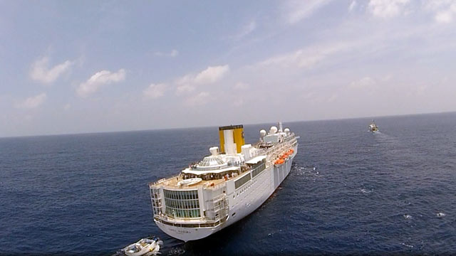 PHOTO: The Costa Allegra cruise ship is seen at sea near the Seychelles. Disabled by an engine fire, the cruise ship is being towed and should reach land March 1,2012, according to a spokesman for Costa Cruises, Feb. 28, 2012.