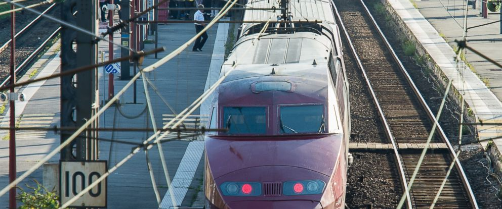 PHOTO: A Thalys train of French national railway operator, SNCF, stands at the main train station in Arras, northern France, after a gunman opened fire injuring three people, Aug. 21, 2015.