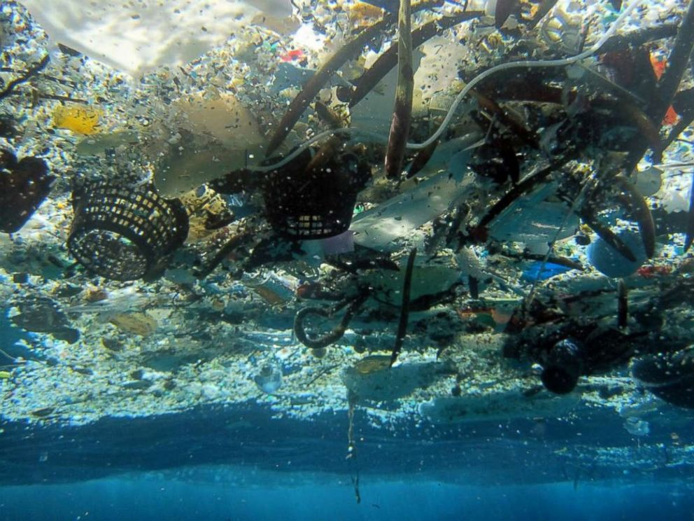 PHOTO: A photo provided by NOAA Pacific Islands Fisheries Science Center shows debris in Hanauma Bay, Hawaii in 2008. A 2014 study estimated nearly 270,000 tons of plastic is floating in the worlds oceans.