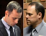 PHOTO: Olympic sprinter Oscar Pistorius, left, and police Detective Hilton Botha, are shown in court, Feb. 20, 2013 at the Magistrate Court in Pretoria, South Africa.