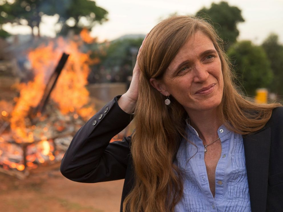 PHOTO: U.S. Ambassador to the United Nations Samantha Power stands near the first Cameroon Ivory Burn at the Palais des Congres in Yaounde, Cameroon, April 19, 2016.