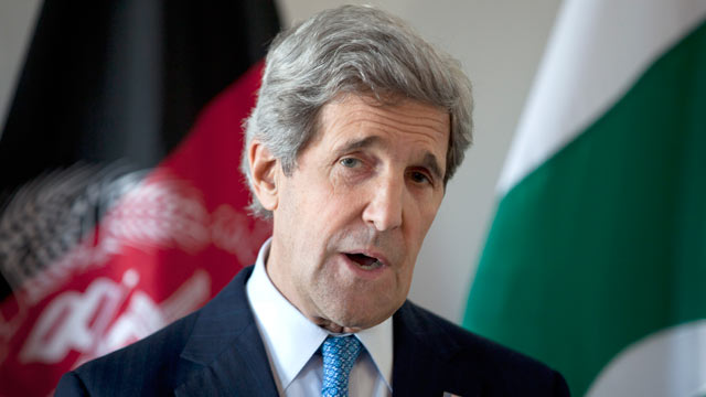 PHOTO: U.S. Secretary of State John Kerry delivers a statement after a meeting with Afghan President Hamid Karzai and Pakistani Army Chief Gen. Asfhaq Parvez Kayani, April 24, 2013, in Brussels, Belgium.