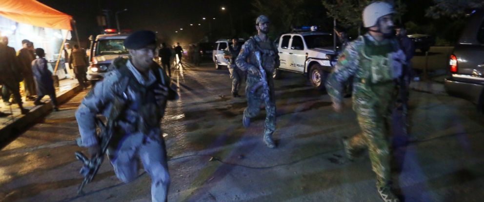 PHOTO: Afghan security forces rush to respond to reports of an attack on the campus of the American University in the Afghan capital Kabul on Aug. 24, 2016.