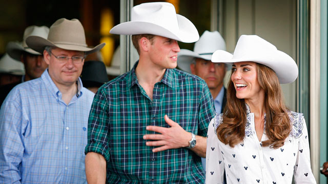PHOTO: Prince William and Kate, the Duke and Duchess of Cambridge, and Prime Minister Stephen Harper, left, leave a reception at the Calgary Stampede on July 7, 2011, in Calgary, Alberta.