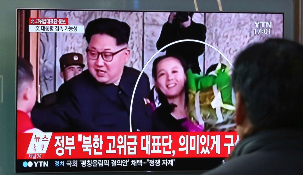 PHOTO: People watch a TV screen showing North Korean leader Kim Jong Un, left, and his sister Kim Yo Jong at Seoul Railway Station in Seoul, South Korea, Wednesday, Feb. 7, 2018.