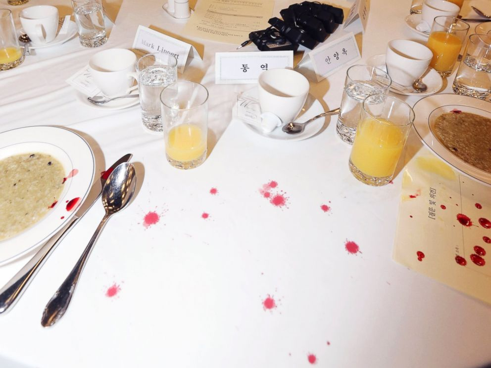 PHOTO: Blood stains are seen on the table where U.S. Ambassador to South Korea Mark Lippert sat at a lecture hall in Seoul, South Korea, March 5, 2015.