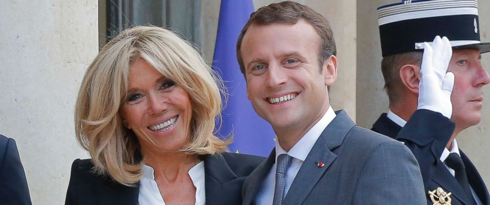 PHOTO: Brigitte Macron the wife of French President Emmanuel Macron smile as they welcome Belgian Prime Minister Charles Michel and Luxembourg Prime Minister Xavier Bettel for a diner at the Elysee Palace in Paris, France, Thursday, July 20, 2017.