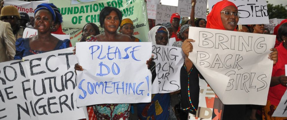PHOTO: Women attend a demonstration calling on the government to rescue kidnapped schoolgirls of a government secondary school Chibok, in Abuja, Nigeria, April, 30. 2014.