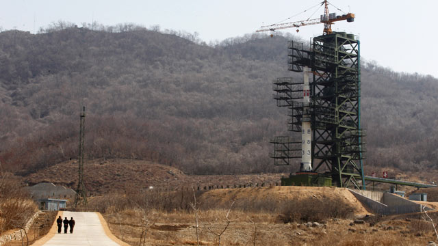 PHOTO:North Koreas Unha-3 rocket, slated for liftoff between April 12-16, stands at Sohae Satellite Station in Tongchang-ri, North Korea, April 8, 2012.