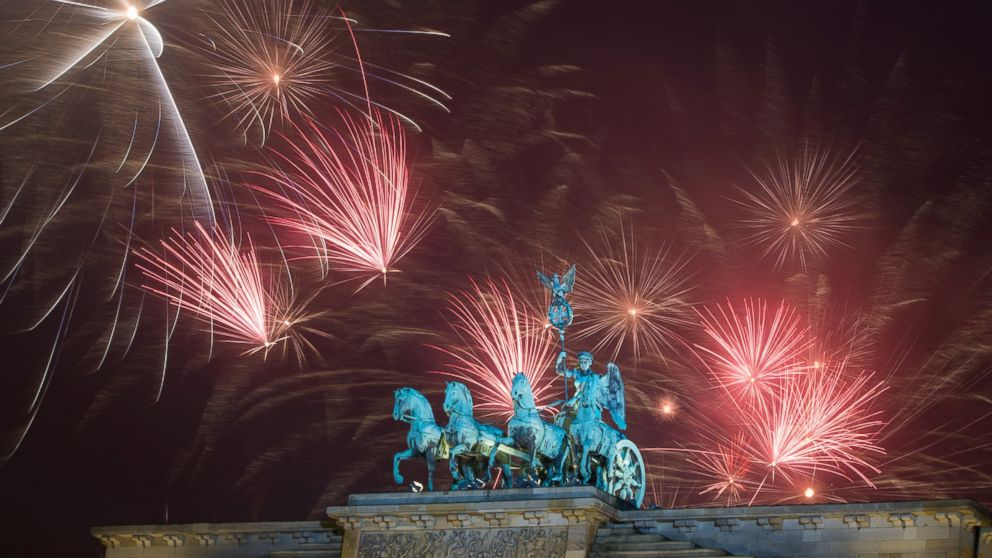 Fireworks explode during the New Year's party at Brandenburg Gate in Berlin, Jan. 1, 2015.