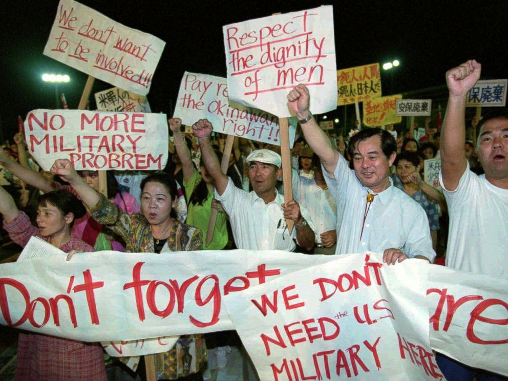 PHOTO: Members of Japanese Teachers Union demonstrate in Ginowan, Okinawa, Oct. 5, l995.