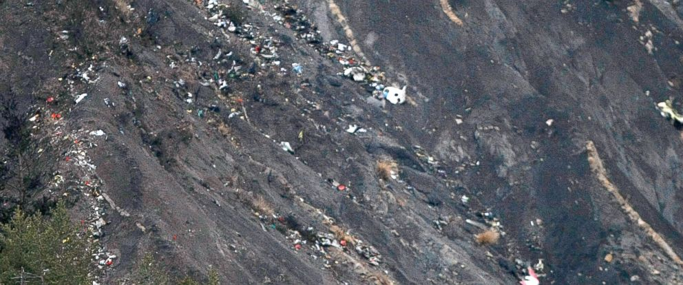 PHOTO: Debris of the Germanwings passenger jet is scattered on the mountain side near Seyne les Alpes, French Alps, March 24, 2015.