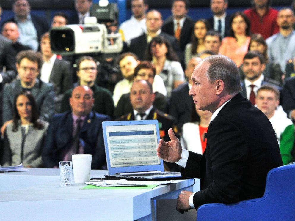PHOTO: Russian President Vladimir Putin speaks during an annual call-in show on Russian television Conversation With Vladimir Putin in Moscow, Russia, April 16, 2015.