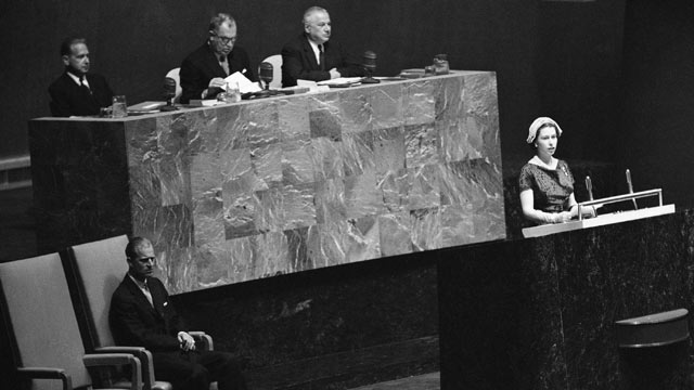 PHOTO: Queen Elizabeth II addresses the General Assembly, as her husband Prince Philip, sits at left, in this Oct. 21, 1957 file photo.
