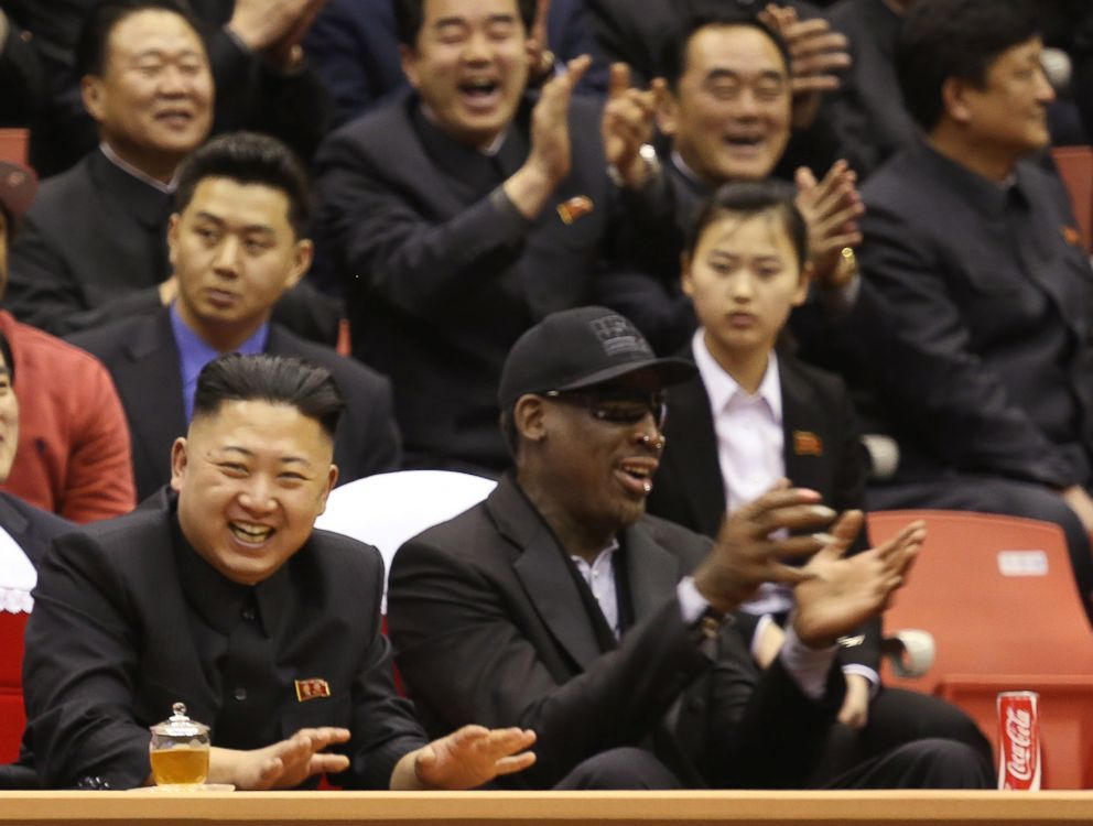 Kim Jong Un left and former NBA star Dennis Rodman watch North Korean and U.S. players in an exhibition basketball game at an arena in Pyongyang North Korea Feb. 28 2013
