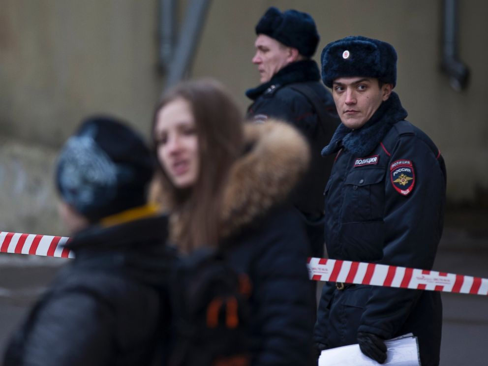 PHOTO: Russian police officers secure an area near a subway station in Moscow on Feb. 29, 2016.