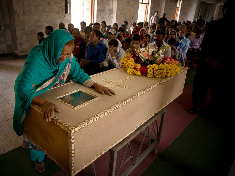 PHOTO: The grandmother of a Pakistani Christian boy named Sahil Pervez, mourns his death, at a church in Lahore, Pakistan, March 28, 2016.