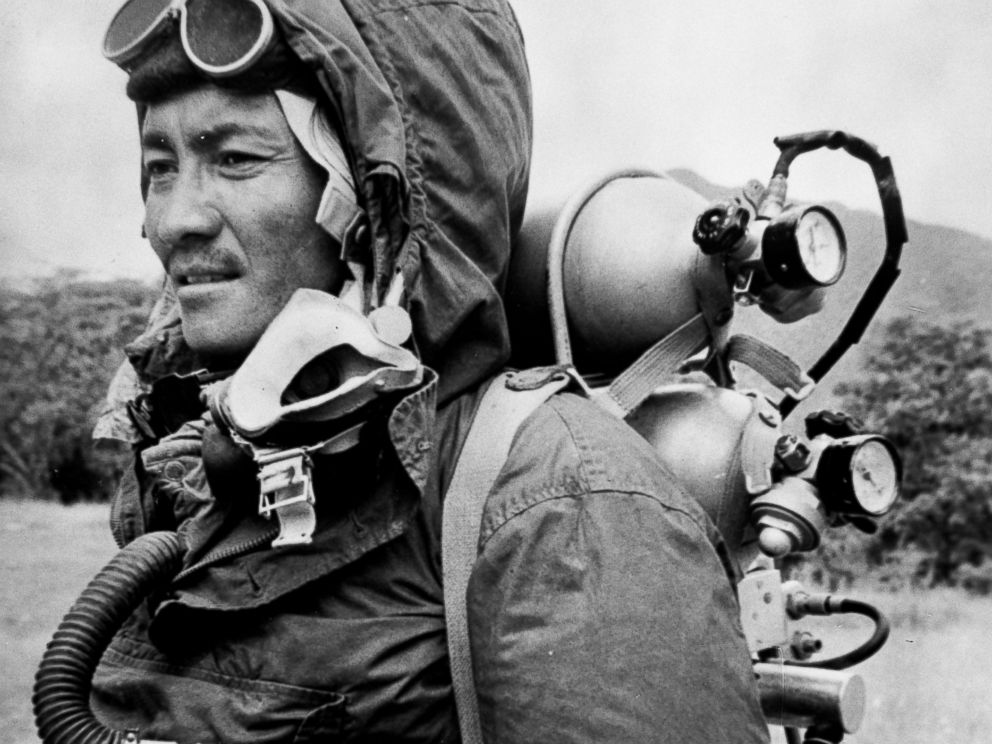 PHOTO: Sherpa Tensing is seen in this June 30, 1963 file photo, wearing the clothing and oxygen equipment in which he and Edmund Hillary reached the summit of Mount Everest.