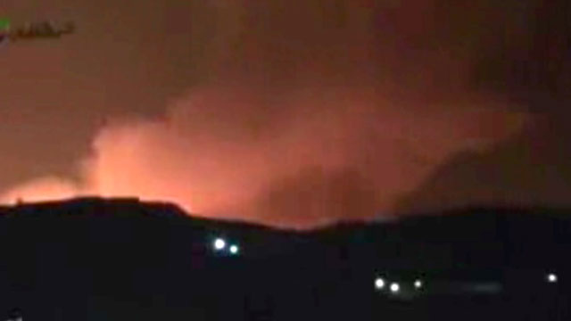 PHOTO:In this image taken from video obtained from the Ugarit News, which has been authenticated based on its contents and other AP reporting, smoke and fire fill the the skyline over Damascus, Syria, early Sunday, May 5, 2013 after an Israeli airstrike