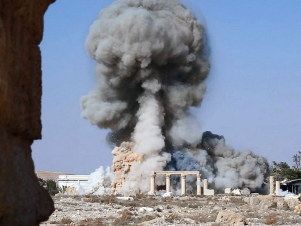 PHOTO: An undated photo released Aug. 25, 2015 on a social media site used by Islamic State militants purports to show smoke from the detonation of the 2,000-year-old temple of Baalshamin in Syrias ancient caravan city of Palmyra.