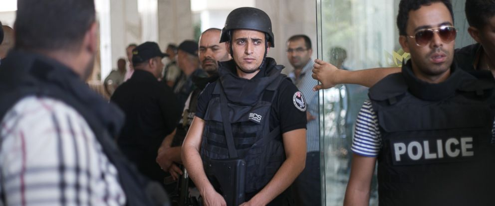 PHOTO: Tunisian police officers stay in the lobby of an hotel where a terrorist attack took place in the coastal town of Sousse, Tunisia, June 26, 2015.